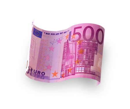 banknote: banknote in the 500 euro carved white background