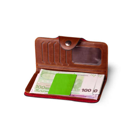 pay cuts: wallet, credit card and bank notes in EURO on the whitr background