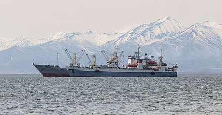 range of motion: fishing trawler in the Bay on the roads in Kamchatka