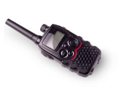 pager: Black portable radio with antenna and indicator carved on a white background Stock Photo