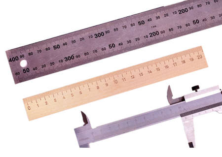 sliding caliper: rulers and Vernier caliper carved on a white background