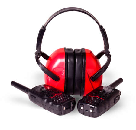 pager: two black walkie-talkie antennas red earmuffs, cut out on white background