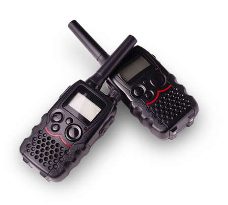 pager: two black walkie-talkie antennas and indicators carved on a white background