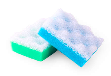 Green and blue squire bath spongeon white Stock Photo