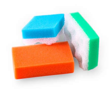squire: Set of multi-colored squire bath sponge on white