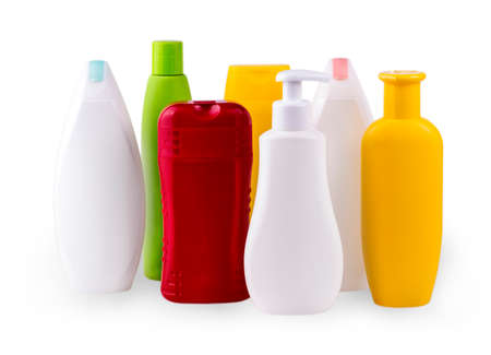 colore: close up of a white and colore  bottles on white