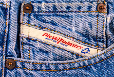 illustrative material: Chisinau, Moldova February 10, 2017: Back pocket jeans  Diesel. Diesel - Italian design company and brand clothing and accessories Editorial