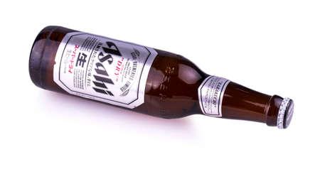 Chisinau, Moldova February 12, 2017:  A bottle of Asahi Super. Asahi was founded in Osaka, Japan in 1889 as the Osaka Beer Company. Editorial