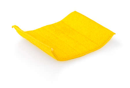 Yellow cleaning cloth isolated on white background