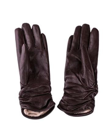 elementos de protección personal: black ladies gloves on white background