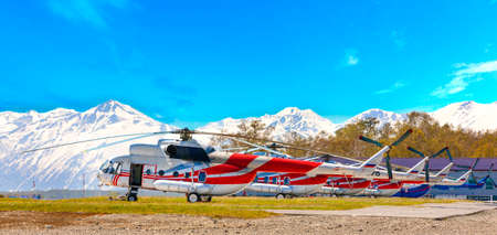 Parking for helicopters ready for transportation of passengers and tourists