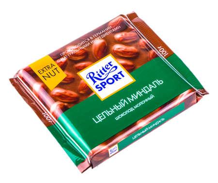 Russia, Kamchatka- July 11, 2017: Ritter Sport milk chocolate. Ritter Sport chocolate bar made by Alfred Ritter GmbH & Co