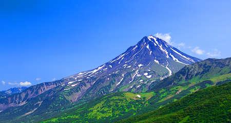 erupting: typical sleeping volcano: Vilyuchinsky volcano (Russia, Kamchatka).