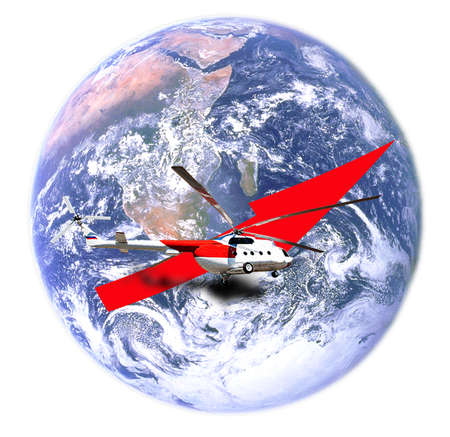 airstrip: Helicopter commencing a flight around the globe. Elements of this image furnished by NASA