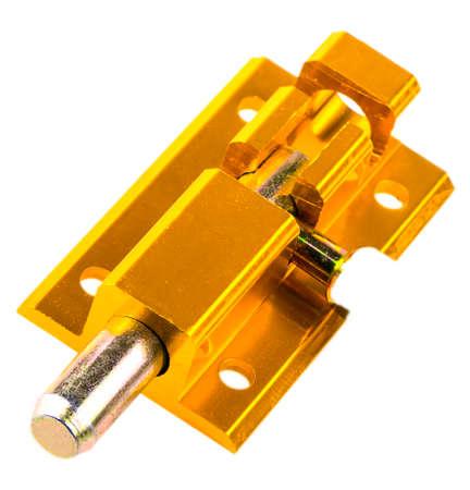 closet door: Yellow door bolt isolated on white background.