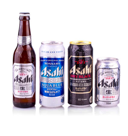 Chisinau, Moldova February 12, 2017: metal and glass  bottles of Asahi Super. Asahi was founded in Osaka, Japan in 1889 as the Osaka Beer Company.