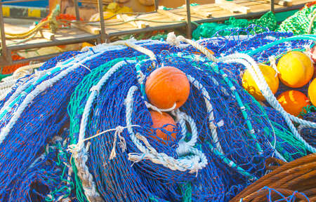 colored fishing net with floats