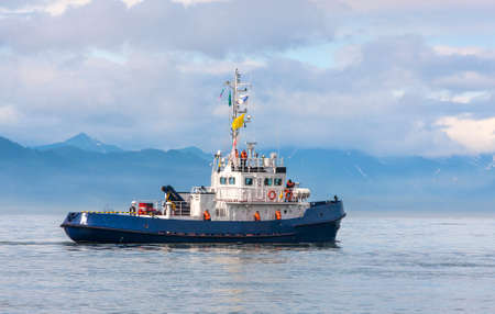 Coast Guard ship in the bay of the Pacific Ocean in Kamchatka
