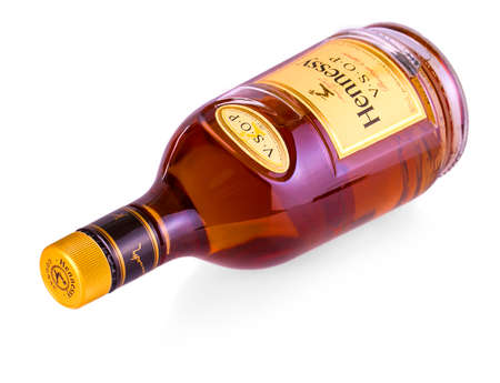 CHISINAU, MOLDOVA - AUGUST 17, 2017: Bottle of Cognac Hennessy isolated on white background. Created by Maurice Hennessy in 1870. XO stands for Extra Old because of its extended aging process.