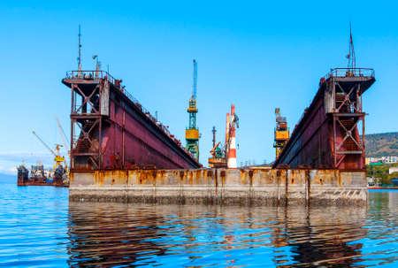 storage: large floating repair dock for ships Stock Photo