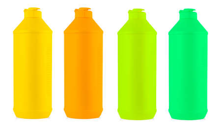 colored plastic bottle with liquid laundry detergent, cleaning agent, bleach or fabric softener isolated on white background