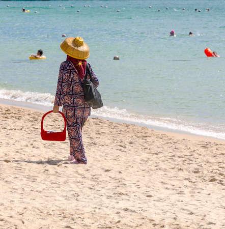 salesman in the beach in China Banco de Imagens