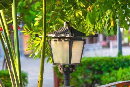 street forged metal lanterns on on a well-groomed cottage with green grass and flowers Stock Photo