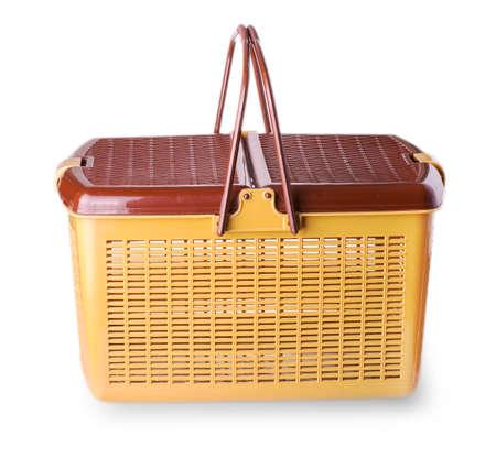 Hand craft plastic basket isolated white