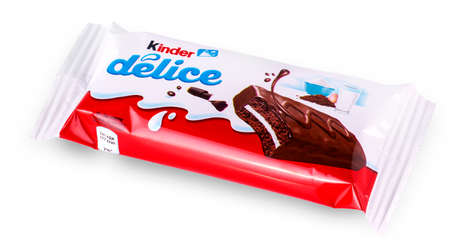 Chisinau, Moldova - 26 December2017: Kinder Delice snack made from milk and soft sponge cake covered in chocolate. Kinder Delice is a children snack made by Ferrero.