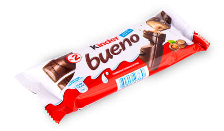Chisinau, Moldova - 26 December2017: Kinder Bueno snack made from milk and soft sponge cake covered in chocolate. Kinder Delice is a children snack made by Ferrero.