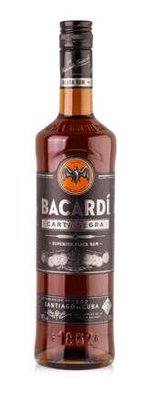 Chisinau, Moldova - 16 Novender 2017: Bottle of Bacardi Carta Negra Rum