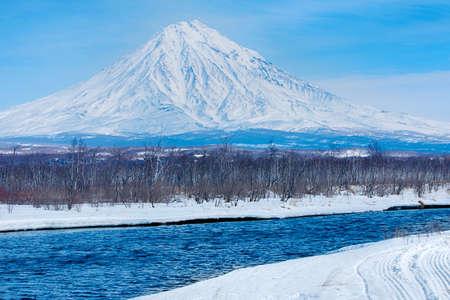 Koryaksky volcano on the Kamchatka Peninsula in the winter