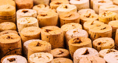 Background pattern of wine bottles corks Stock Photo
