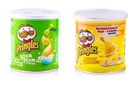 Chisinau, Moldova 15 January 2017: Pringles potato chips, sour cream & onion. potato and wheat-based stackable snack chips owned by the Kellogg Company.