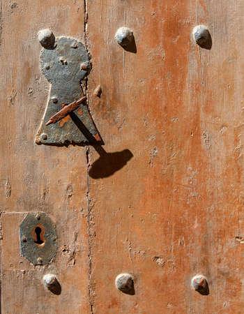 The old wooden door knob