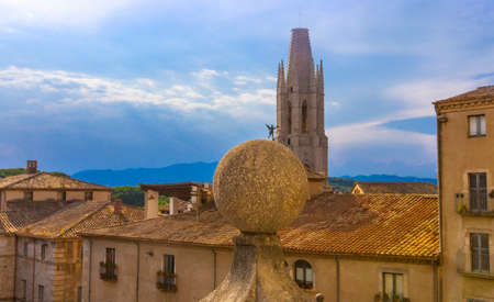 The  aerial view of Girona and cathedral in a beautiful summer day, Catalonia, Spain