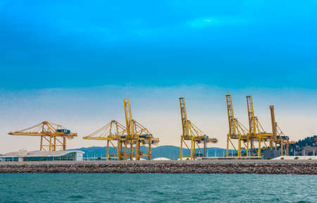 View on trading seaport with cranes Publikacyjne