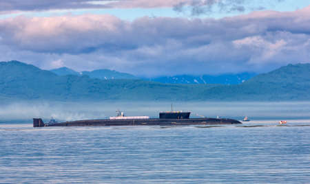 nuclear submarine on parade Stock Photo