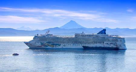 Kamchatka, Russia - SEPT 29, 2018: Big CRUISE SHIP