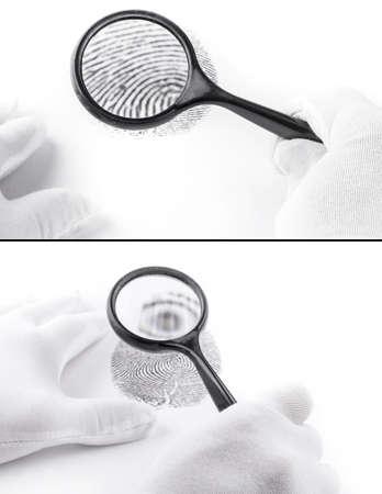 Set of criminology expert through a magnifying glass looking at a fingerprint