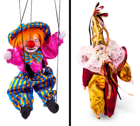 The clown puppet isolated on white background