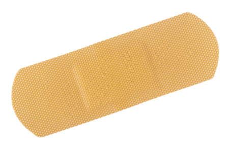 Vista dall'alto del bendaggio adesivo beige isolato su bianco
