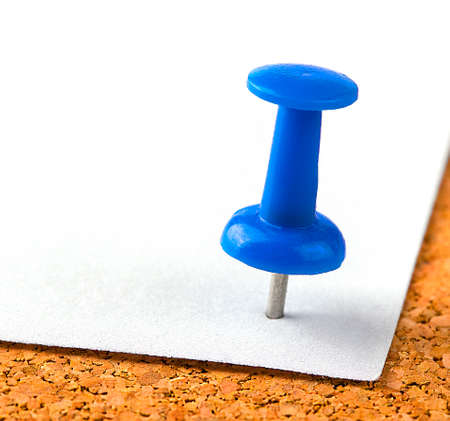 plastic button with a needle stuck in an iron sheet of white paper on a wooden stopper. 版權商用圖片