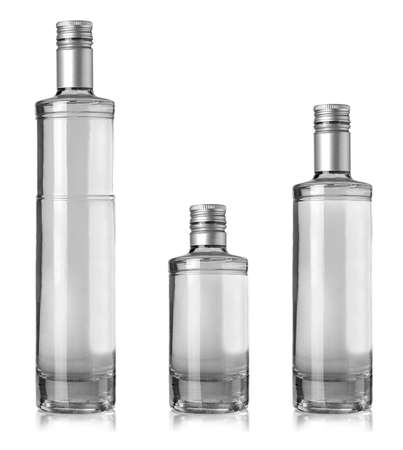 The Beautiful Clear Bottles with clear liquid on white background