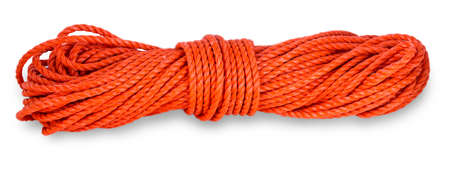 The red rope thread with roll up on a white background.