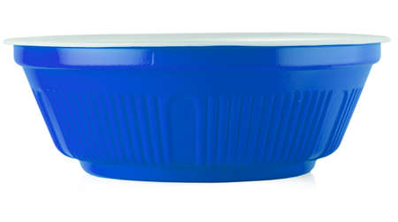 Blue bowl on the white background