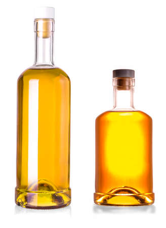 Two Full whiskey bottles isolated on white background with clipping path