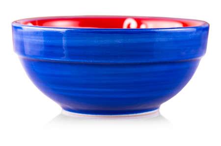 The blue  cup on the isolated white background