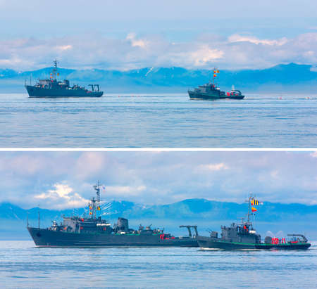 Naval minesweeper in Avacha bay on Kamchatka in Russia Stock Photo - 124955180