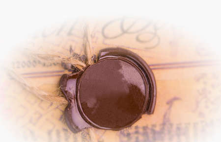 The antique wax seal on the old document